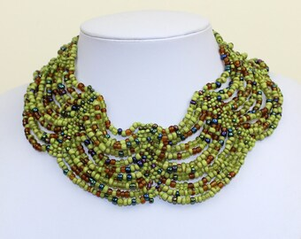 Green Collar Necklace Beaded Multi Color Necklace Choker Collar Chunky Jewelry Masai Beads Cleopatra Style DB04 MapenziGems