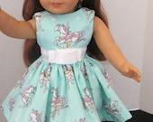 Aqua Carousel Dress for all 18 inch dolls, like the American Girl doll
