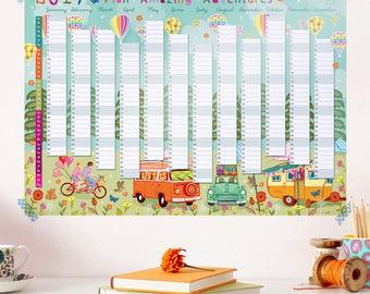 2017 Wall Planner Calendar - Plan Amazing Adventures - Holiday Planner - 2017 Wall Calendar - 2017 Year Planner