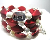 Love and Hearts Memory Wire Wrap Bracelet,  4 Coil Stackable Jewelry