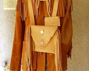 SALE Fringed Medicine Bag-Messenger Bag-Possible Bag-Thunderbird-3 Piece Set