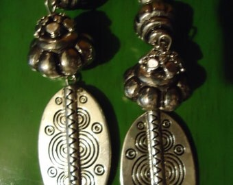RESERVED Angie Boho Gypsy Silver Toned Oval Light Weight Drop Dangle Earrings