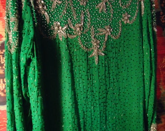 Vintage Green Embellished Beaded Dress