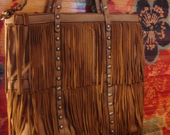 Vintage Boho Leather Fring Purse with Studs
