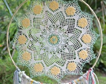 Dreamcatcher -  Wall Hanging - Home decor -  Gypsy - Boho - Daisy Mandela - using novelty yarns hanging down, beads, crystal, vintage doily
