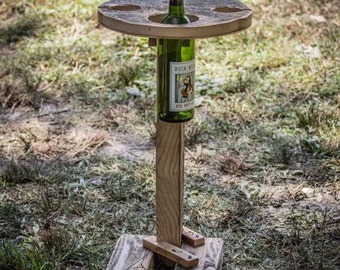 Reclaimed wood folding wine table with stand