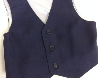 Boys vest, midnight blue boys vest, blue boys vest, vest for boys, (Sizes available for 1 year to 8 year old)