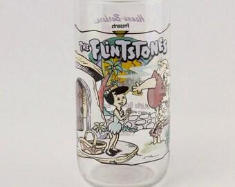 Vtg The Flintstones Drinking Glass Tumbler 1991 First 30 Years Hardees
