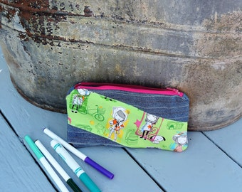 girly pencil case made with upcycled kid's jeans