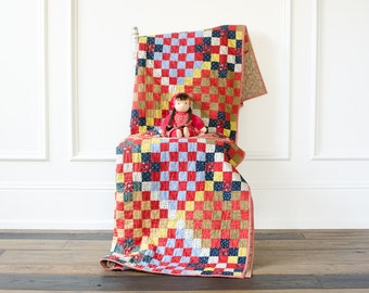 Antique Checkered Patch Calico Hand Stitched / Hand Quilted - 1890's