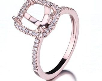Morganite Ring Emerald Morganite diamonds Rose gold Sterling silver emerald Engagement Ring