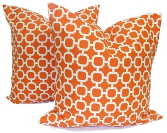 ORANGE OUTDOOR Pillows.SET Of Two. 20, 18 or 16 inch.Orange Pillow Covers.Decorative Pillow Covers. Outdoor Pillow.Outdoor Cushion. Pillows