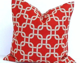 RED Pillows SALE 14x14 inch Pillow Cover, Red Decorative Pillow, Red Throw Pillow, Red and Brown Pillows, Christmas, Accent Pillow,