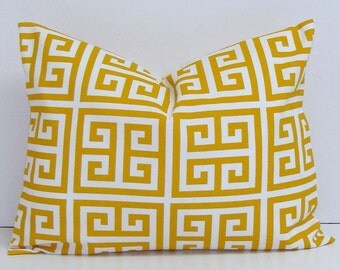 OUTDOOR PILLOW Sale.12x16 or 12x18 Inch.Pillow Covers.Printed Fabric Front and Back.GOLDEN yellow Greek Key.Gold Cushion Cover.Cm