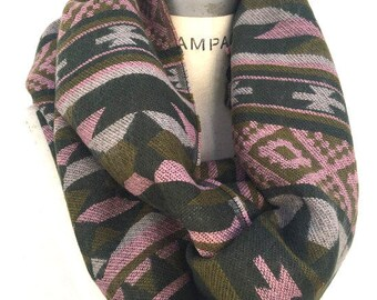 Winter thick infinity scarf, Chevron  Aztec print, tribal print, mens gifts for him, gift for women, Chunky knit scarf,  PiYOYO