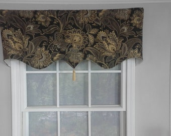 Window valance shaped with tassel in black,grey,and spa blue floralq