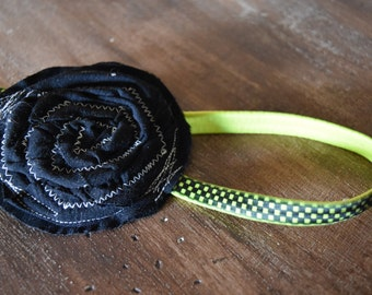 Black and Green Flower Headband by Greenique