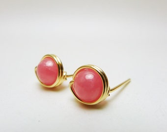 Wirewrapped Natural Stone Earstuds / Rhodochrosite  with14k Yellow Gold-filled