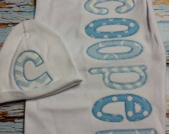 Personalized Baby Gown and HatBoy Baby Blue