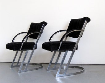 Pair of Chrome Cantilevered Arm Chairs - Mid Century
