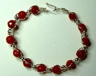 Woven Red Aventurine Bracelet