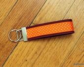 "Hokies Polka Dot - 1.25"" Orange and Maroon Key Fob Wristlet"