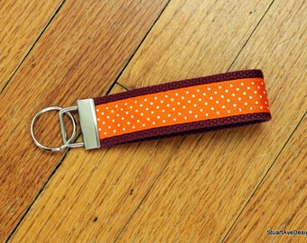 "Hokies Polka Dot - 1.25"" Orange and Maroon Key Fob Wristlet"