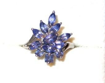 Absolutely Stunning Tanzanite 14K White Gold Ring Size 6