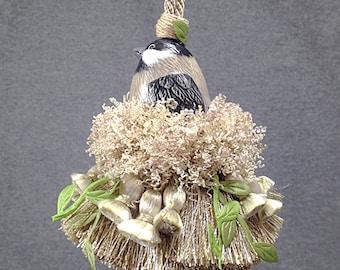 Home Decor Accent Tassel - Nature Wedding Decor - Designer Tassel - Drapery Tassel - Beige Black Tassel - Bird Lover Gift - Accent Tassel