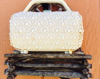 1950's Round Ivory Resin Beaded Purse