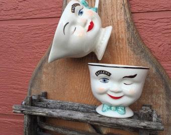 Vintage Baileys Winker Sugar and Creamer Boy and Girl Set