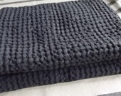 Natural Graphite Waffle Half Linen Sauna Bathroom Towel. Stonewashed and Soft Linen/Cotton Towel.