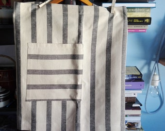 New price!!!  Beige and black striped prewashed linen and cotton half apron. Soft cafe apron.