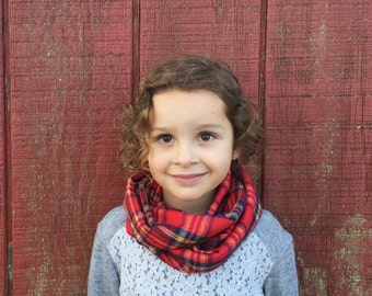 Toddler Infinity Scarf: Red Plaid Flannel