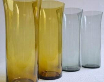 4 Mouth Blown Trumpet Glasses - 2 gold & 2 smoke grey by Kaj Franck Finland