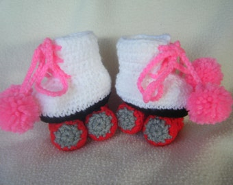 Cute Crocheted Baby Girl Roller Skates - Made to Order