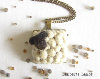 Sheep pendant, Felted Sheep Charm, Needle Felted necklace, Handmade sheep chain