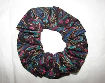 PURPLE Blue Black Paisley Fabric Hair Scrunchies Gold Accents, women's accessories, fancy scrunchie, florals, stocking stufffer, womans gift
