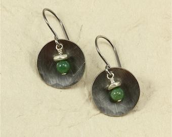 Hammered Silver and African Jade Earrings, Sterling Silver Earrings, Hammered Silver Earrings, Green Earrings
