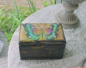 Cigar Box Vintage Butterfly Jewels Decorated Cottage Romantic Shabby Chic OOAK