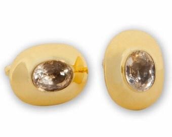 Citrine Cufflinks Rare Genuine Gemstone Gold Plated Sterling Silver 925