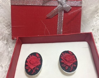Red Black Rose Cameo Sterling Silver Plated art designer Cameo Cufflinks Mens or Ladies