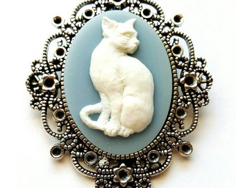Blue Morbid Cat Kitty Silver - Rose Gold - Antique Gold Necklace Pendant Goth Steampunk
