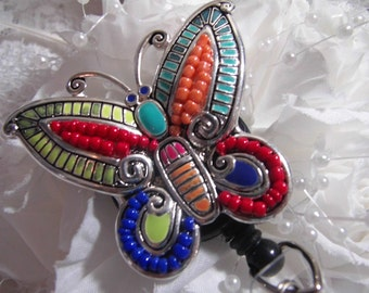 Large  BEADED bright BUTTERFLY rainbow Retractable badge holder ID Clip reel