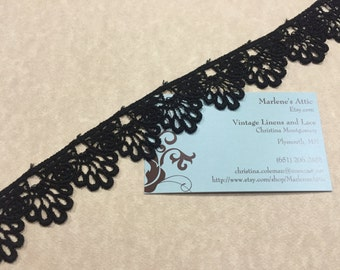 Black Venise lace, 1 yard of 1 1/4 inch Black Venise lace trim for wedding, bridal, goth, jewelry, couture by MarlenesAttic - Item 5S