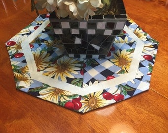 Table Runner, Handmade Round Blue and White with a floral Design table runner by MarlenesAttic