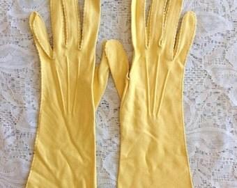 Vintage Van Raalte yellow gloves