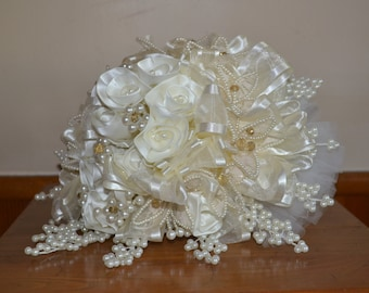 Wedding Bouquet, Handmade Satin Roses with Pearls