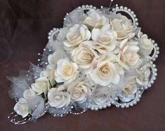 Wedding Bouquet- Ivory Paper Crepe Flowers