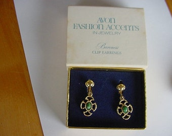 Vintage 1970s Avon Baroness Clip On Earrings, Original Box, Goldtone, Costume Jewelry